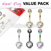 5 Pcs Value Pack Double Jeweled IP Plated Over 316L Surgical Stainless Steel Navel Rings