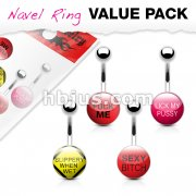 4 Pcs Value Pack Text Logo Inlaid and Clear Epoxy Covered 316L Surgical Steel Belly Button Rings