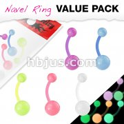 5 Pcs Value Pack BioFlex Navel Rings with Color Glow in the Dark Balls
