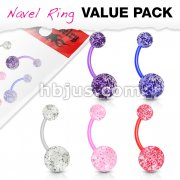 5 Pcs Value Pack Ultra Glitter Acrylic Balls BioFlex Navel Rings