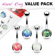 4 Pcs Value Pack Opal Glitter Set 316L Surgical Steel Belly Button Rings