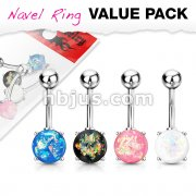 4 Pcs Value Pack Opal Glitter Prong Set 316L Surgical Steel Belly Button Rings