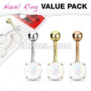 3 Pcs Value Pack IP Plated Opal Glitter Prong Set 316L Surgical Steel Belly Button Rings