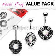 3 Pcs Value Pack Opal Glitter Centered Vintage Style 316L Surgical Steel Belly Button Rings