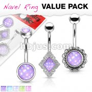 3 Pcs Value Pack Assorted Illuminating Stone Set 316L Surgical Steel Belly Button Navel Rings