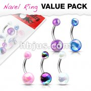 5 Pcs Value Pack Metallic AB Coating Balls 316L Surgical Steel Belly Button Navel Rings