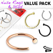 4 Pcs Value Pack of Assorted 316L Surgical Steel Nose Hoop Rings