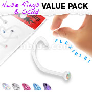 5 Pcs Value Pack of Assorted Clear BioFlex Nose Screw with Assorted Bezel Set Gems