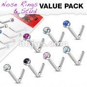 7 Pcs Value Pack of Assorted Press Fit Gem 316L Surgical Steel L Bend Nose Ring
