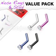 4 Pcs Value Pack of Assorted 316L Surgical Steel 2mm CZ Top Titanium IP L-Bend Nose Ring