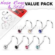 7 Pcs Value Pack of Assorted 316L Surgical Steel Press Fit Gem Nose Screw