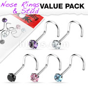 5 Pcs Value Pack of Assorted 316L Surgical Steel Prong Set Gem Nose Screw