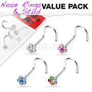 4 Pcs Value Pack of Assorted 316L Surgical Steel  6-Gem Flower Nose Screw