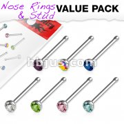 7 Pcs Value Pack of Assorted 316L Surgical Steel 2mm CZ Nose Bone Studs