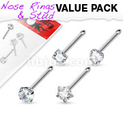 4 Pcs Value Pack of Assorted Clear Prong Set CZ Gem 316L Surgical Steel Nose Bone