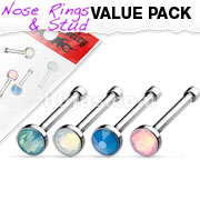 4 Pcs Value Pack of Assorted Flat Top Opalite Stone Press Fit 316L Surgical Steel Nose Bone