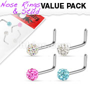 4 Pcs Value Pack of Assorted Ferido Ball 316L Surgical Steel L Bend Nose Ring