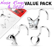3 Pcs Value Pack of Assorted .925 Sterling Silver Nose Screw