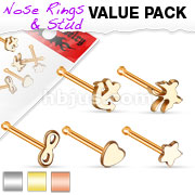 5 Pieces Nose Studs Mix Value Pack