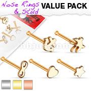 5 Pieces Nose Studs Mix Value Pack