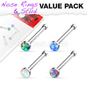 Opal Set Nose Stud Rings 4 pcs Value Pack