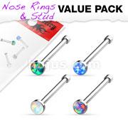 Opal Set Nose Stud Rings 4 pcs Value Pack