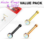 Opal Set IP Over 316L Surgical Steel Nose Stud Rings 3 pcs Value Pack