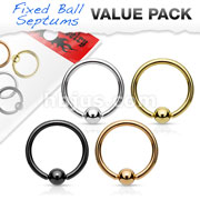 4 Pcs Value Pack 20ga Fixed Ball Nose Hoops 316L Surgical Steel