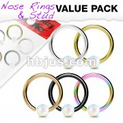 5 Pcs Value Pack IP Plated White Opal Ball Fixed 316L Surgical Steel Hoop Nose Rings