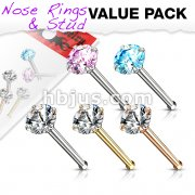 5 Pcs Value Pack of Assorted 316L Surgical Steel Nose Bone Stud Rings with Prong Set CZ