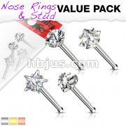 4 Pcs Value Pack of 316L Surgical Steel Nose Bone Stud Rings With Prong Set CZ Mix