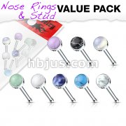 8 pcs Value Pack Semi Precious Stone Set 316L Surgical Steel Nose Bone Stud Rings
