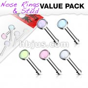 5 pcs Value Pack Illuminating Stone Set 316L Surgical Steel Nose Bone Stud Rings