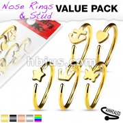 5 Pcs Value Pack IP Plated Assorted Shaped 316L Surgical Steel Hoop Ring for Nose & Ear Cartilage