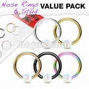 5 Pcs Value Pack Opal Ball Fixed Hoop Ring for Nose