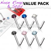 6 Pcs Value Pack of 316L Surgical Steel L Bend Nose Stud Rings with Prong Set CZ