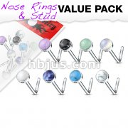 8 pcs Value Pack Semi Precious Stone Set 316L Surgical Steel L Bend Nose Stud Rings
