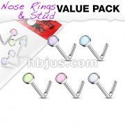 5 pcs Value Pack Illuminating Stone Set 316L Surgical Steel L Bend Nose Stud Rings