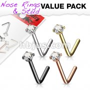 4 Pcs Value Pack of Assorted 316L Surgical Steel L Bend Nose Stud Rings with Prong Set CZ