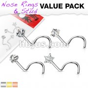 4 Pcs Value Pack of 316L Surgical Steel Nose Screw Rings with Prong Set CZ Mix