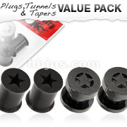 4 Pcs Value Pack of Black Titanium Plated Screw Fit and Ultra Flexible Silicone Double Flared Star Tunnel Plugs