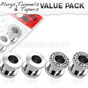 4 Pcs Value Pack of 316L Surgical Steel Screw Fit Polished Surface and Multi-Gemmed Rim Tunnel Plugs