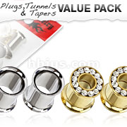 4 Pcs Value Pack of 316L Surgical Steel Flesh Tunnels and Gold IP Screw-Fit Double Flared Tunnel Plugs with Gemmed Rims