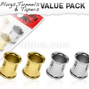 4 Pcs Value Pack of 316L Surgical Steel and Gold IP Double Flared Flesh Tunnel Plugs