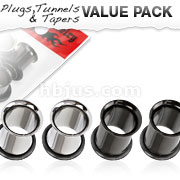4 Pcs Value Pack of 316L Surgical Steel and Black Titanium Anodized Double Flared Flesh Tunnel Plugs with O-Rings