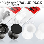 4 Pcs Value Pack of UV Hollow Saddle Tunnels and Solid Acrylic Saddle Plugs