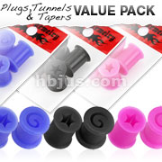 4 Pcs Value Pack of Ultra Flexible Silicone Double Flat Flared Spiral Plugs