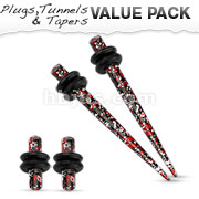 Red & Black Printed Paint Splatter Plug & Taper with O-Ring Set