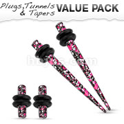 Pink & Purple Printed Paint Splatter Plug & Taper with O-Ring Set