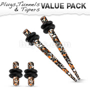Orange & Black Printed Paint Splatter Plug & Taper with O-Ring Set